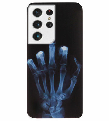 ADEL Siliconen Back Cover Softcase Hoesje voor Samsung Galaxy S21 Ultra - Schedel Middelvinger