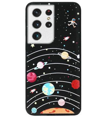 ADEL Siliconen Back Cover Softcase Hoesje voor Samsung Galaxy S21 Ultra - Ruimte Heelal Cartoon