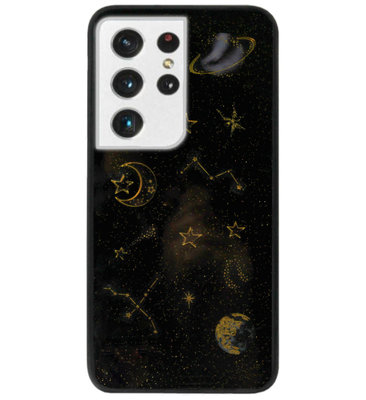 ADEL Siliconen Back Cover Softcase Hoesje voor Samsung Galaxy S21 Ultra - Ruimte Heelal Bling Glitter