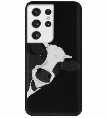 ADEL Siliconen Back Cover Softcase Hoesje voor Samsung Galaxy S21 Ultra - Koe