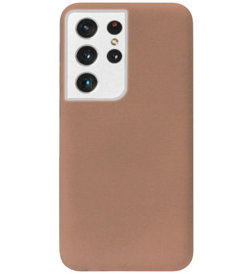 ADEL Siliconen Back Cover Softcase Hoesje voor Samsung Galaxy S21 Ultra - Bruin