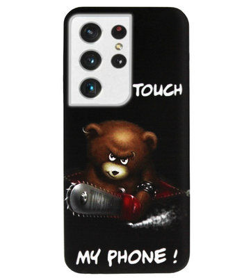 ADEL Siliconen Back Cover Softcase Hoesje voor Samsung Galaxy S21 Ultra - Don't Touch My Phone Beren