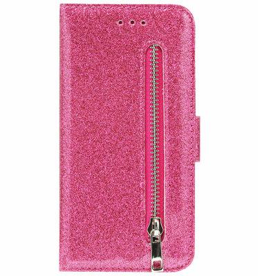 ADEL Kunstleren Book Case Pasjes Portemonnee Hoesje voor Samsung Galaxy S21 Ultra - Bling Bling Glitter Roze