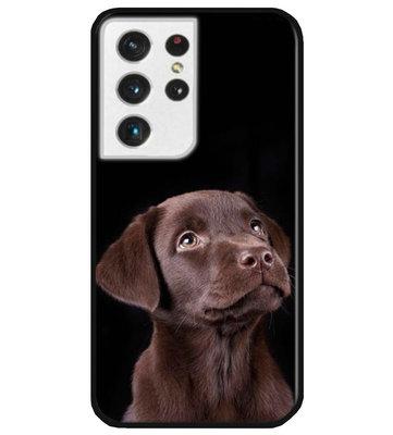 ADEL Siliconen Back Cover Softcase Hoesje voor Samsung Galaxy S21 Ultra - Labrador Retriever Hond Bruin
