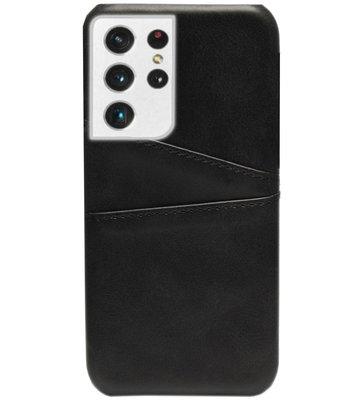 ADEL Kunstleren Back Cover Pasjes Hoesje voor Samsung Galaxy S21 Ultra - Zwart