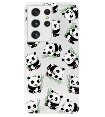ADEL Siliconen Back Cover Softcase Hoesje voor Samsung Galaxy S21 Ultra - Panda Liggend