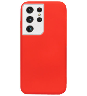 ADEL Siliconen Back Cover Softcase Hoesje voor Samsung Galaxy S21 Ultra - Rood