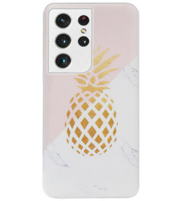 ADEL Siliconen Back Cover Softcase Hoesje voor Samsung Galaxy S21 Ultra - Ananas