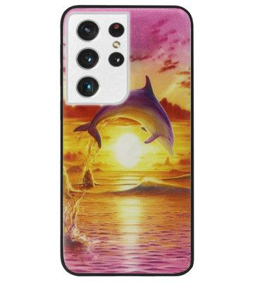 ADEL Kunststof Back Cover Hardcase Hoesje voor Samsung Galaxy S21 Ultra - Dolfijn