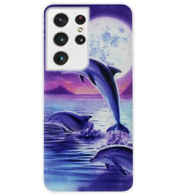 ADEL Kunststof Back Cover Hardcase Hoesje voor Samsung Galaxy S21 Ultra - Dolfijn Blauw