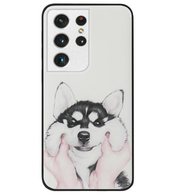 ADEL Siliconen Back Cover Softcase Hoesje voor Samsung Galaxy S21 Ultra - Husky Hond