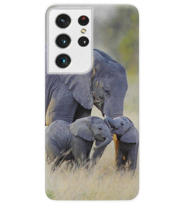 ADEL Siliconen Back Cover Softcase Hoesje voor Samsung Galaxy S21 Ultra - Olifant Familie