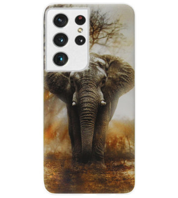 ADEL Siliconen Back Cover Softcase Hoesje voor Samsung Galaxy S21 Ultra - Olifanten