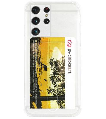 ADEL Siliconen Back Cover Softcase Hoesje voor Samsung Galaxy S21 Ultra - Pasjeshouder Doorzichtig