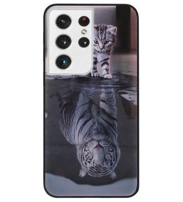 ADEL Siliconen Back Cover Softcase Hoesje voor Samsung Galaxy S21 Ultra - Poezen Schaduw Tijger