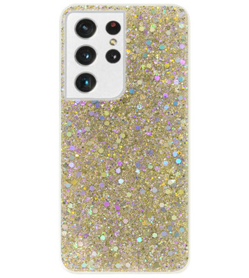 ADEL Premium Siliconen Back Cover Softcase Hoesje voor Samsung Galaxy S21 Ultra - Bling Bling Glitter Goud