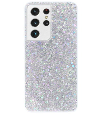 ADEL Premium Siliconen Back Cover Softcase Hoesje voor Samsung Galaxy S21 Ultra - Bling Bling Glitter Zilver