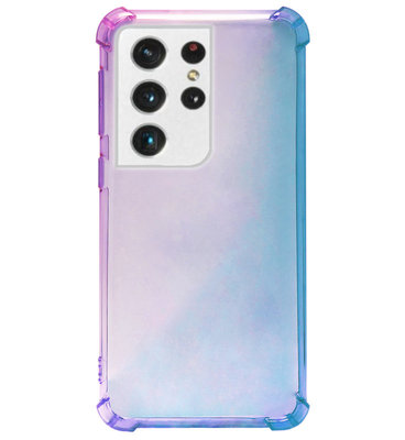 ADEL Siliconen Back Cover Softcase Hoesje voor Samsung Galaxy S21 Ultra - Kleurovergang Blauw Paars