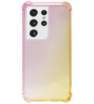 ADEL Siliconen Back Cover Softcase Hoesje voor Samsung Galaxy S21 Ultra - Kleurovergang Roze Geel