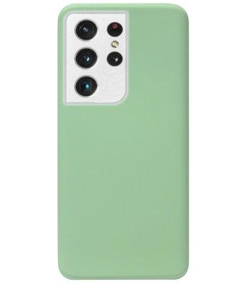 ADEL Premium Siliconen Back Cover Softcase Hoesje voor Samsung Galaxy S21 Ultra - Lichtgroen