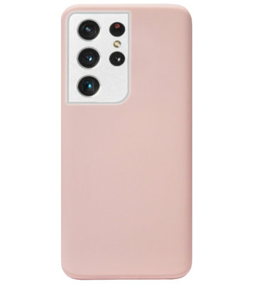 ADEL Premium Siliconen Back Cover Softcase Hoesje voor Samsung Galaxy S21 Ultra - Lichtroze