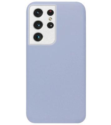 ADEL Premium Siliconen Back Cover Softcase Hoesje voor Samsung Galaxy S21 Ultra - Lavendel Grijs