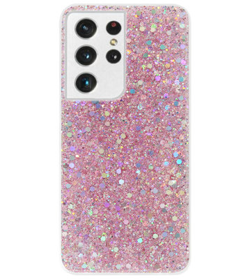 ADEL Premium Siliconen Back Cover Softcase Hoesje voor Samsung Galaxy S21 Ultra - Bling Bling Roze