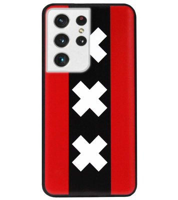 ADEL Siliconen Back Cover Softcase Hoesje voor Samsung Galaxy S21 Ultra - Amsterdam Andreaskruisen