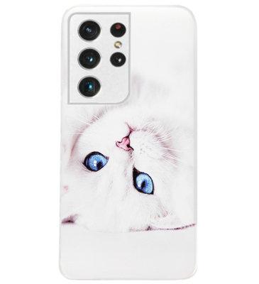 ADEL Siliconen Back Cover Softcase Hoesje voor Samsung Galaxy S21 Ultra - Katten