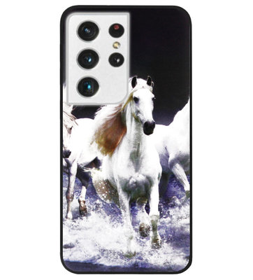 ADEL Siliconen Back Cover Softcase Hoesje voor Samsung Galaxy S21 Ultra - Paarden Wit