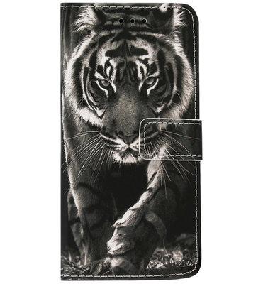 ADEL Kunstleren Book Case Pasjes Portemonnee Hoesje voor Samsung Galaxy S21 Ultra - Tijger Zwart