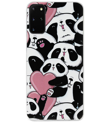 ADEL Siliconen Back Cover Softcase Hoesje voor Samsung Galaxy S20 FE - Panda Hartjes