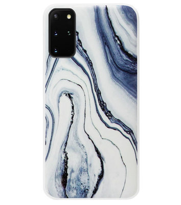 ADEL Siliconen Back Cover Softcase Hoesje voor Samsung Galaxy S20 FE - Marmer Blauw Wit