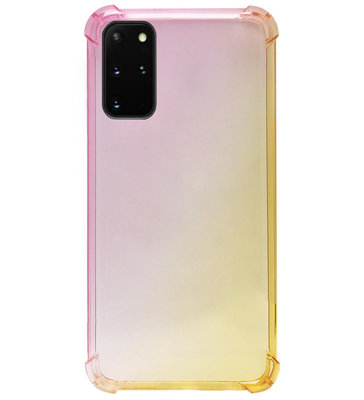 ADEL Siliconen Back Cover Softcase Hoesje voor Samsung Galaxy S20 FE - Kleurovergang Roze Geel