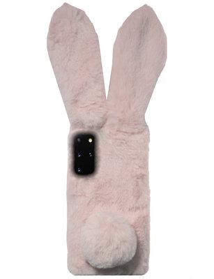 ADEL Siliconen Back Cover Softcase Hoesje voor Samsung Galaxy S20 FE - Roze Konijn Pluche Stof