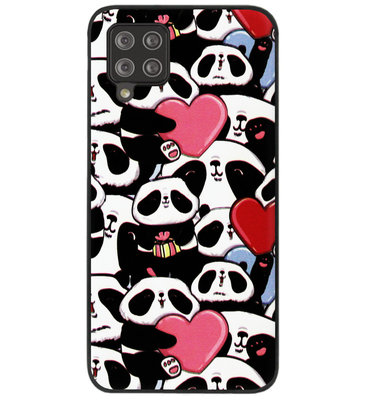 ADEL Siliconen Back Cover Softcase Hoesje voor Samsung Galaxy A42 - Panda Hartjes