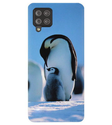 ADEL Siliconen Back Cover Softcase Hoesje voor Samsung Galaxy A42 - Pinguin Blauw