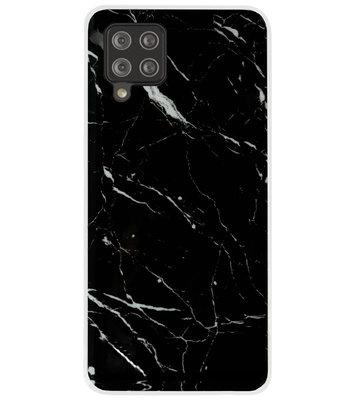 ADEL Siliconen Back Cover Softcase Hoesje voor Samsung Galaxy A42 - Marmer Zwart