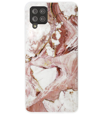 ADEL Siliconen Back Cover Softcase Hoesje voor Samsung Galaxy A42 - Marmer Rood