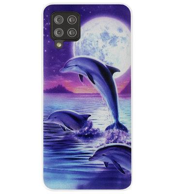 ADEL Kunststof Back Cover Hardcase Hoesje voor Samsung Galaxy A42 - Dolfijn Blauw