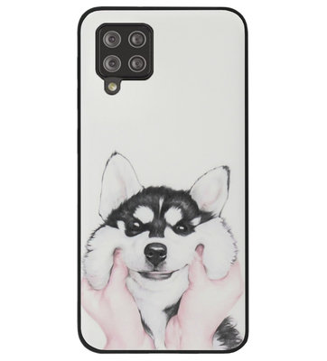 ADEL Siliconen Back Cover Softcase Hoesje voor Samsung Galaxy A42 - Husky Hond