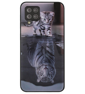 ADEL Siliconen Back Cover Softcase Hoesje voor Samsung Galaxy A42 - Poezen Schaduw Tijger