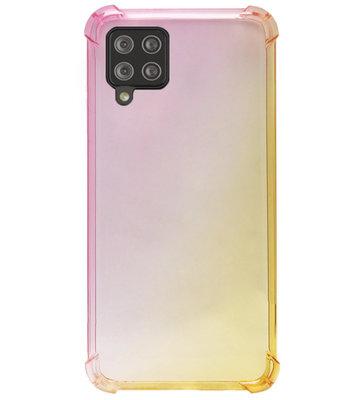 ADEL Siliconen Back Cover Softcase Hoesje voor Samsung Galaxy A42 - Kleurovergang Roze Geel