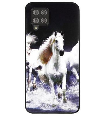 ADEL Siliconen Back Cover Softcase Hoesje voor Samsung Galaxy A42 - Paarden Wit