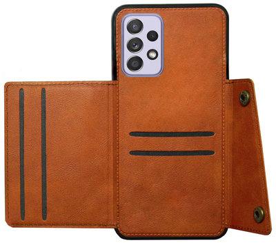 ADEL Kunstleren Back Cover Pasjeshouder Hoesje voor Samsung Galaxy A72 - Bruin