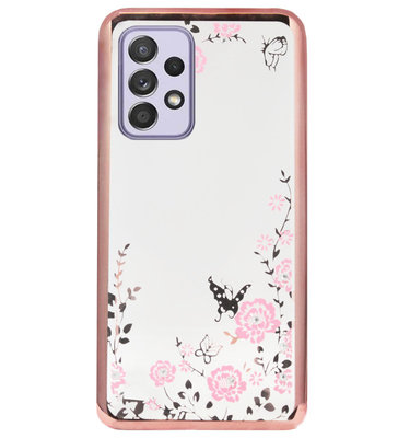 ADEL Siliconen Back Cover Softcase Hoesje voor Samsung Galaxy A72 - Glimmend Glitter Vlinder Bloemen Roze