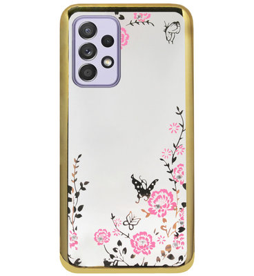 ADEL Siliconen Back Cover Softcase Hoesje voor Samsung Galaxy A72 - Glimmend Glitter Vlinder Bloemen Goud