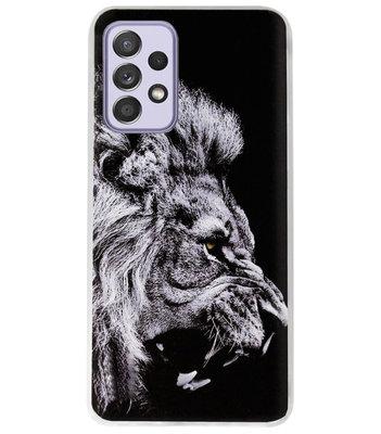 ADEL Siliconen Back Cover Softcase Hoesje voor Samsung Galaxy A72 - Leeuw Zwart
