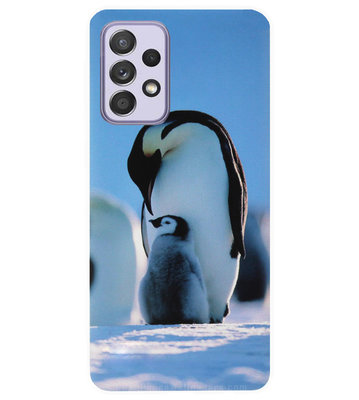 ADEL Siliconen Back Cover Softcase Hoesje voor Samsung Galaxy A72 - Pinguin Blauw