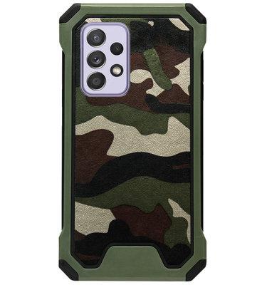 ADEL Kunststof Bumper Case Hoesje voor Samsung Galaxy A72 - Camouflage Groen